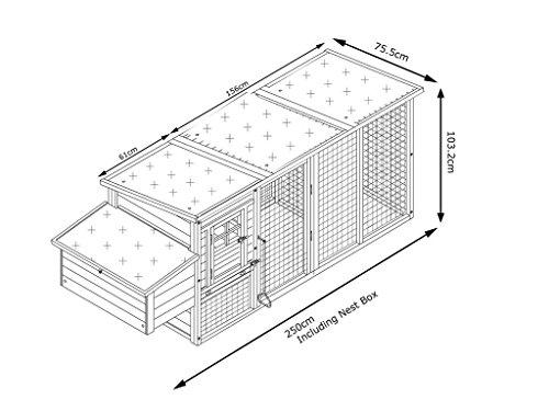 Eggshell Buckingham Hühnerstall mit Laufgehege auf Rollen, schützt vor Füchsen, tragbar, geschweißter/beschichteter 3-mm-Draht, Deckel lässt sich öffnen, mit Nistkasten, für 2-4 Hühner, Größe XXL, 250 cm JETZT MIT VOELLIG UEBERDACHTEN SOMMER/WINNTER STALL - 2