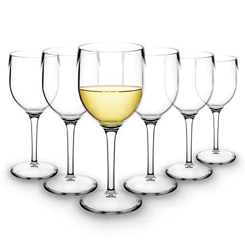 RB Weißweingläser Premium-Kunststoff Unzerbrechlich Wiederverwendbar 20cl, 6 Stück