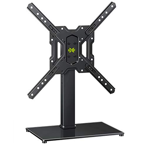 USX MOUNT Universal Swivel TV Stand for 26-55 Inch LCD LED Flat Screen TVs, VESA 400x400mm Height Adjustable Tabletop TV Base/Stand Mount with Tempered Glass Base & Cable Management