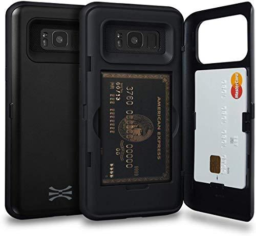 TORU CX Pro Funda Galaxy S8 Plus Carcasa Cartera con Tarjetero Oculto y Espejo para Samsung Galaxy S8 Plus - Negro Mate