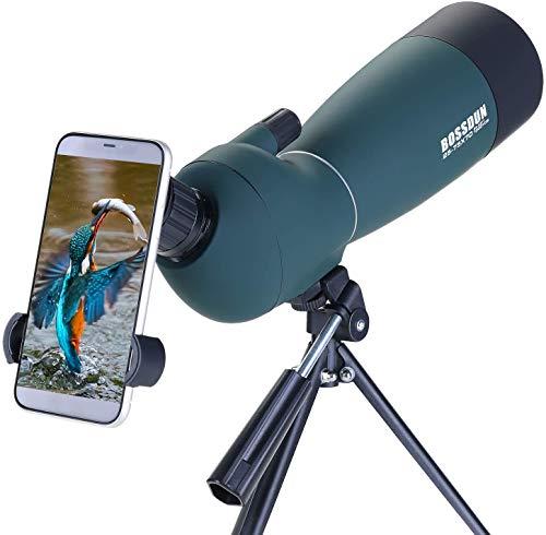 25-75x70 Cannocchiale con Treppiede, Borsa per il Trasporto e Adattatore per Smartphone - Cannocchiale Monoculare Impermeabile per Osservazione Uccelli Tiro con l'arco Safari Turistico