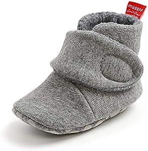 Matt Keely - Zapatillas de invierno para bebés y niños y niñas, antideslizantes, suela suave, con forro polar, color Gris, talla 0-6 meses