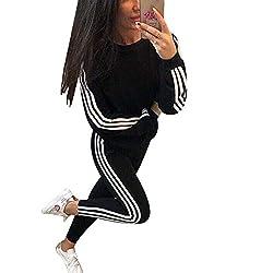Tidecc Trainingsanzug für Damen, lange Ärmel, seitlich gestreift, für Sport, Joggen, Fitnessstudio, Workout, Outfit, Playsuit, 4 Farben Gr. 38-40, Schwarz