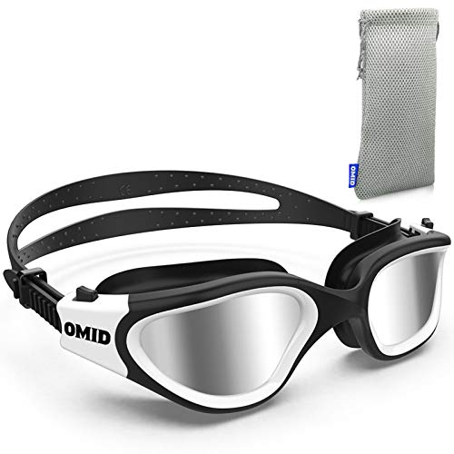 OMID Swim Goggles, Comfortable Polarized Swimming Goggles, Anti-Fog Leak Proof UV Protection Crystal Clear Vision Swim Goggles for Men Women Adult Youth (Silver)
