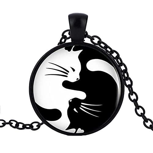 Revilium Vintage Two Yin Yang Cats Collar Colgante Kolye Cabochon Collar De Cadena Larga para Mujeres Hombres 50 + 5Cm