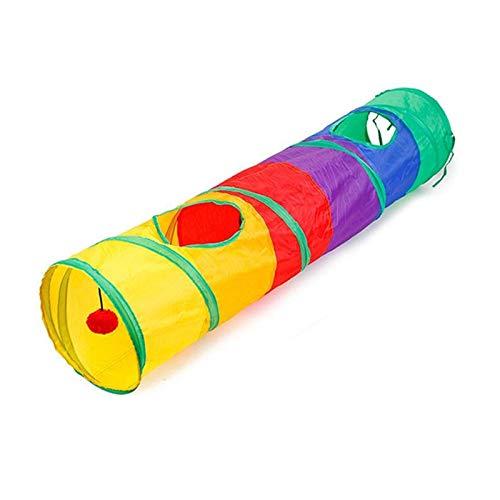 Hwtcjx Tunel Gato, Tubo de túnel Arrugado, 1 Pedazo Tubo de túnel para Jugar, Tunel para Gatos, Hecho de poliéster, con 2 Orificios, Plegable, para Gatitos, Conejos (Color del Arco Iris, D25 x 120cm)
