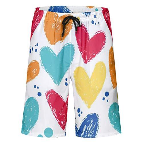 Vrnceit Leicht Herren-Camouflage-Shorts Strandhose Badeanzüge für Herren schnell trocknen mit Elastic Waist und Pockets Form White 3XL