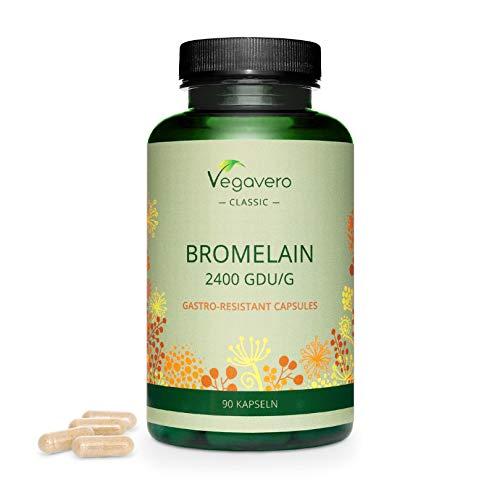 Bromélaïne Pure Vegavero® | Dosage Élevée : 2400 FIP | Sans Additifs | Pour 3 Mois | Enzymes Digestives VEGAN + Rétention d'eau | Gélules Gastro-Résistantes | Testé en Laboratoire