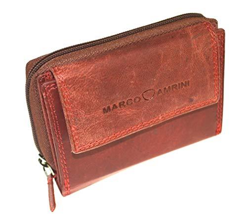Handliches Portemonnaie Damen Wild Leder Geldbeutel in 9 Farben mit RFID Blocker (Rot)