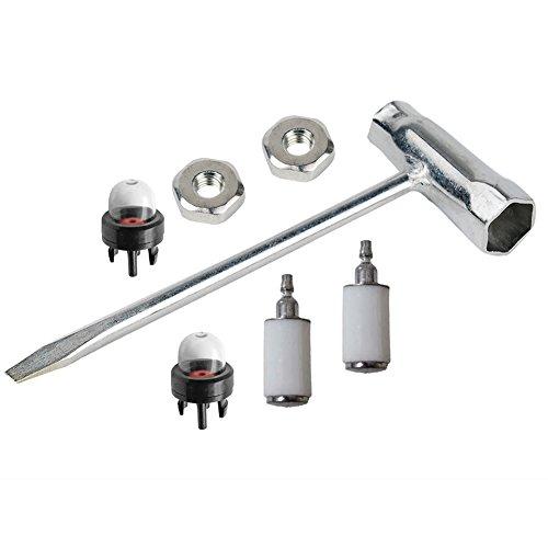 oxoxo Kit de limpieza llave sierra de cadena (Scrench) 13x 19mm con tuerca de Bar filtro de combustible imprimación bombilla para Stihl motosierra Motor