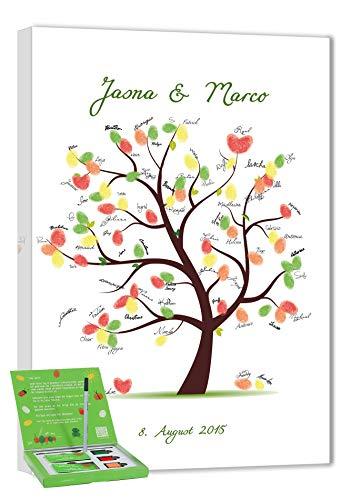 galleryy.net Hochzeitsbaum Fingerabdruck 45x30 mit Namen & Datum - INKL Zubehör-Set (Stempelkissen+Stift+Anleitung+Hochzeitsbuch+...) GRATIS - Schöner Baum - Hochzeitsbaum Fingerabdruck