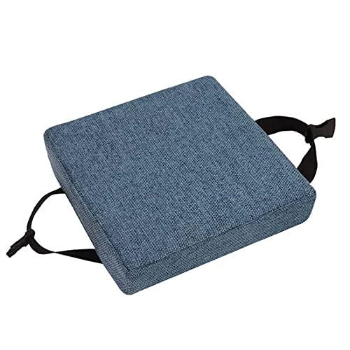 qing yun Cojines de asiento de silla, gruesos 5/8 cm, cojines de silla de comedor, cuadrados antideslizantes para taburete, jardín, interior y exterior (25 x 25 x 5 cm), color azul