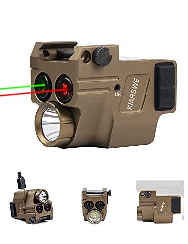 KIARSWE Shockproof Laser Light Combo, 500 Lumens Green Laser Light Combo, Red Laser Beam for Handgun, Red Green Beams for Guns with Pistol Light, USB Rechargeable Pistol Light Laser Combo