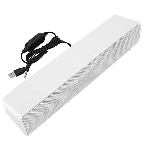 DAUERHAFT Stereo Audio Computer Soundbar für Desktop, USB-Kabel Stereo Soundbar Musik Player Bass Surround Sound Box 3,5 mm Eingang für Laptop Smartphone Tablet Spielekonsole(Weiß)