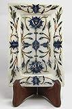 Bandeja decorativa con incrustaciones de piedra de lapislázuli de 6 x 10 cm, para decoración de cocina