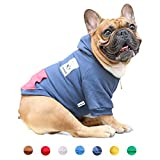 iChoue Pet Clothes Dog Hoodie Hooded Full-Zip Sweatshirt English Bulldog Boston Terrier Cotton Winter Warm Coat Clothing - Navy/Size XL