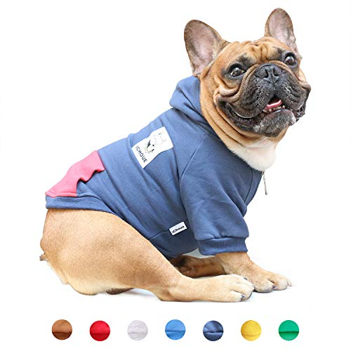iChoue Pets Dog Clothes Hoodie Hooded French Bulldog Pug Boston Terrier Pullover Shirt Cotton Winter Warm Coat Clothing - Navy/Size L