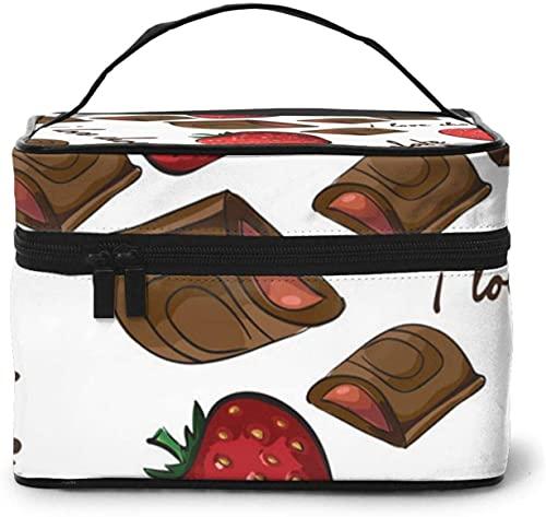 Bolsa de maquillaje grande con diseño de tarta de fresa de chocolate para mujer, portátil, organizador de viaje con cremallera de malla cepillo de bolsillo con asa para niña