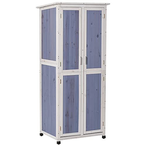 Outsunny Outdoor Garden Shed Wooden Garden Cabinet 3-Tier Double-door Storage Shed 2 Shelves Organizer with Handle Hooks Magnetic Latch Foot Pad 77 x 58 x 175cm Blue and White