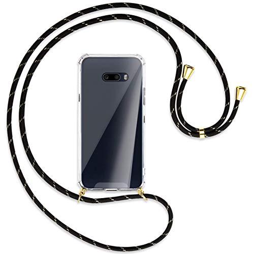 mtb more energy® Handykette kompatibel mit LG G8X ThinQ (LM-G850, 6.4'') - Schwarz+Gold gestreift/Gold - Smartphone Hülle zum Umhängen - Anti Shock Full TPU Hülle