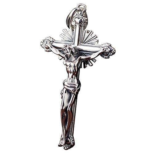 ForFox Vintage Big Echt 925 Sterling Silber Jesus Christus Kruzifix Kreuz Halskette Anhänger für Herren Damen,Silberton