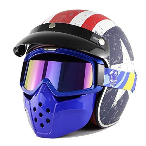 Cascos de Moto de Cara Abierta Motocicleta Retro Medio Casco Scooter Locomotora Crash Casco con Visera Escudo Máscara Gafas Aprobado por/Dot para Unisex(S-XXL, 55-63cm)