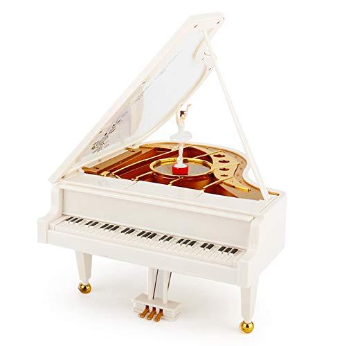 YUY Caja de Música Bailarina Piano con Bailarina Blanco Bailarina Giratoria Clásica Chicas Decoración Encantadora Joyero Regalo de Cumpleaños de Navidad Giratorio