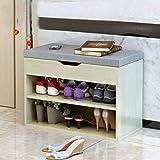 Lin Desgaste Zapatero Banco de Zapatos, Creativo casero nórdica Estilo Puede Sentarse en el Zapato del gabinete con una Tela Suave del Amortiguador Gris 60cm