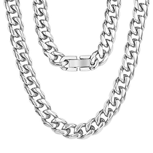 Aucuu Collar Hombre de Acero Inoxidable Plata Cadena Cubana,Cadena de Eslabones de Plata Cubana, 8mm/50 cm. Joyas en Caja-Plata