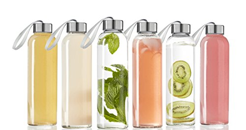 Seacoast FBA_1117756 Seacoast-18 OZ. Glass Bottles, 18/10 Stainless Steel Cap with Easy to Carry Loop (6 Pack, 4 Pack, 2 Pack Available) (6), 18 OZ, Clear