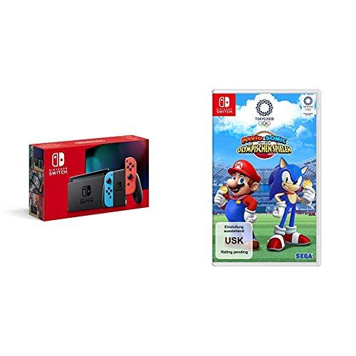 Nintendo Switch Konsole - Neon-Rot/Neon-Blau (2019 Edition) + Mario & Sonic bei den Olympischen Spielen: Tokyo 2020