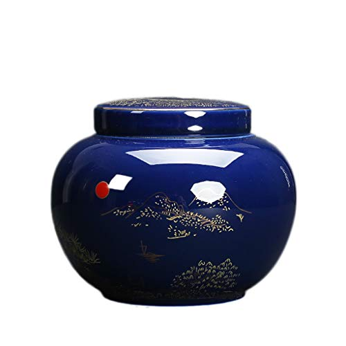 Guqi Pet Funeral Urns Ceramics Keepsake Caskets Memorial Best Friend Dog Cat (Color : Blue)