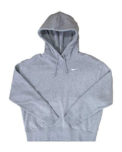 Nike Sportswear Women's Fleece Hoodie CZ2590-063 Dk Grey Heather/White Dk Grey Heather/White M