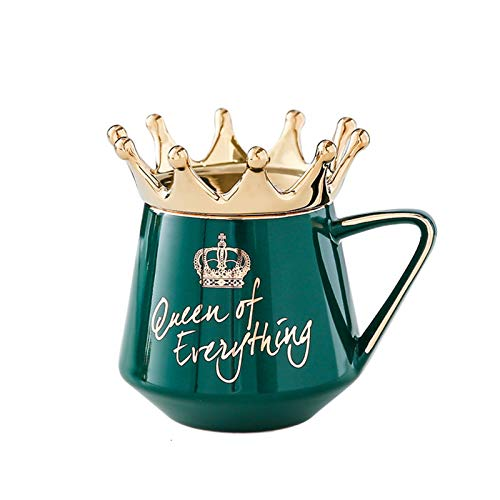 Lanceasy Königin von allem Becher mit Kronendeckel & Löffel Keramik Kaffeetasse Geschenk für Fre&in Frau