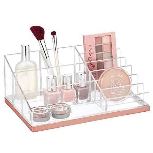 mDesign Práctico organizador de maquillaje – Decorativa caja para guardar cosméticos como esmaltes de uñas o polveras – Expositor de maquillaje con 10 compartimentos – transparente y dorado rosado