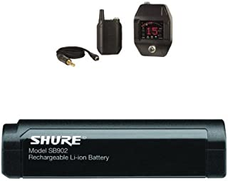 Shure GLXD16 Digital Guitar Pedal Wireless System, Z2With Shure SB902 Rechargeable Lithium-Ion Battery for GLX-D Bundle