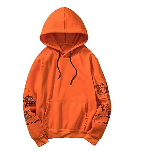 Hoodies Herren Kleidung Winter Sweatshirts Hip Hop Streetwear Solid Men Hoodie Gr. Large, Orange