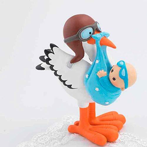 Muñeco para la tarta figura cigüeña con niño gafas azules. Figura tarta Bebé