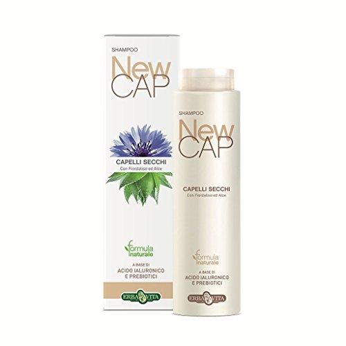 NEW CAP Shampoo Capelli Secchi con Fiordaliso ed Aloe a base di acido ialuronico e probiotici