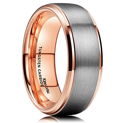 King Will Duo 8mm Tungsten Carbide Wedding Band for Men Rose Gold Plated Beveled Polished Comfort Fit 11.5