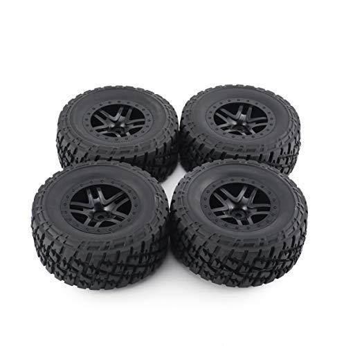 HPI 4 X Felge und Reifen, 4 Stück Austar Felge Gummireifen Radsatz Kit Ersatzteile Zubehör für Traxxas Slash 4X4 Rc4Wd Hsp Crawler Automodell (Schwarz)