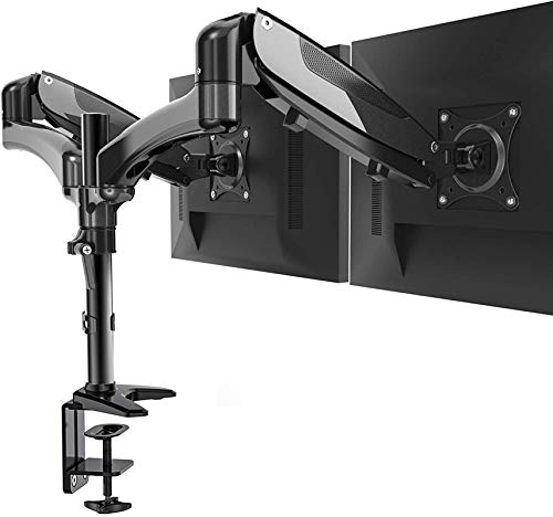 Huanuo Dual Monitor Stand  Height Adjustable Gas Spring Monitor Desk Mount Fits 2 Flat/Curved Computer Screens 15 to 27 Inch Double Articulating Arms Vesa Bracket with C Clamp Grommet Mounting