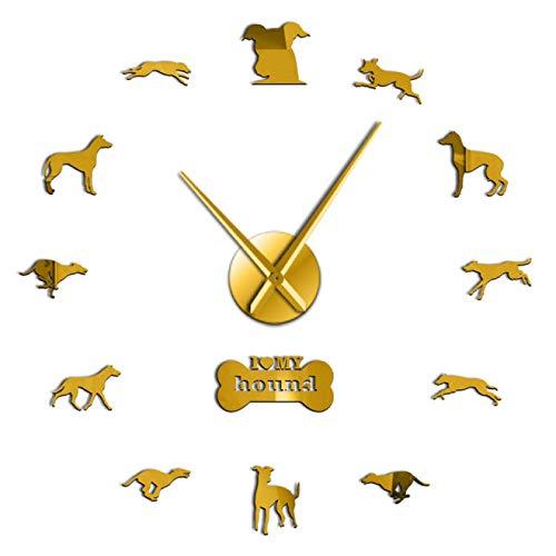 hufeng Reloj de Pared I Love My Hound Dog Efecto Espejo 3D DIY Reloj de Pared Diseño de Animales Tienda de Mascotas Puppy Lover Decoración del hogar Reloj Autoadhesivo