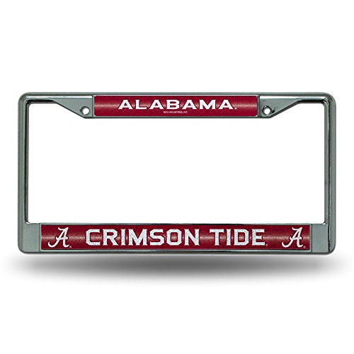 NCAA Alabama Crimson Tide Bling Chrome License Plate Frame with Glitter Accent