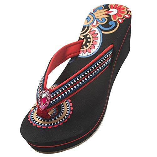 YHshop Pantuflas Playa Sandalias de Mujer Herringbone Slip Antideslizante para Mujer Zapatos de tacón Alto Zapatos de tacón Alto 2 Colores Sandalias (Color : Red, Size : 8#)
