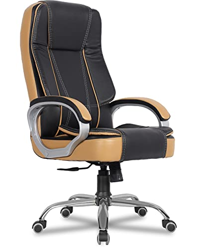 Green Soul Vienna High Back Full Back Leatherette Executive Office Ergonomic Chair with Multi Color Options (Black Tan)