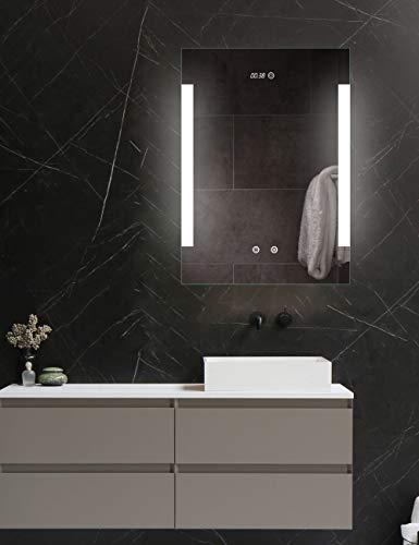 ApeJoy® Wandspiegel 50x70cm mit Beleuchtung, Uhr und Spiegelheizung, LED Badspiegel mit Touch-Schalter, Lichtspiegel hell Kaltweiß 6500K Energieklasse A++ IP44 AJ03s