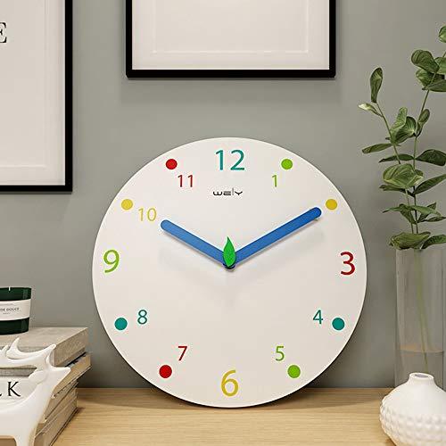 Scra AC Reloj de pared de madera de color creativo moderno moderno y moderno para sala de estar, silencioso, blanco, 30 x 30 cm