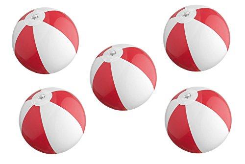 5x Mini Strandball / Wasserball / Farbe: rot-weiß