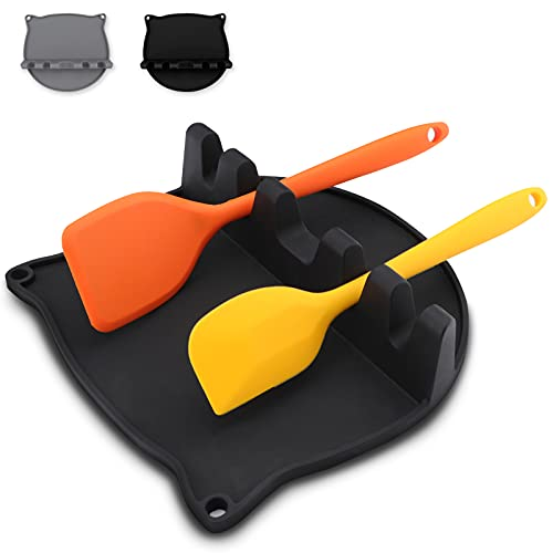 Silicone Utensil Spoon Rest with Drip Pad Kitchen Cut Cat Utensil Holder for Stove Top Spoon Holder & Cooking Utensil Rest for Brushes Spatulas Ladles Forks (Black)